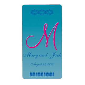 3d Monogram Blue Water Shipping Label