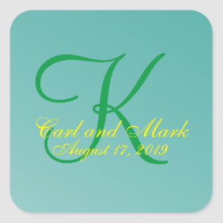 3d Monogram Teal Green Square Sticker