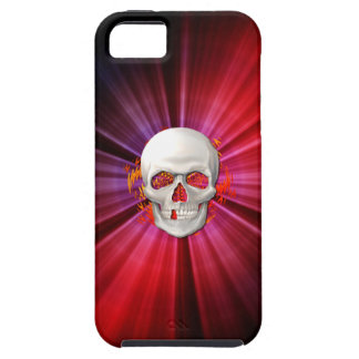 3D Skull in Glowing Fire Tough iPhone 5 Case