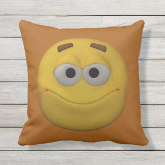 3D Style Smiley Outdoor Cushion