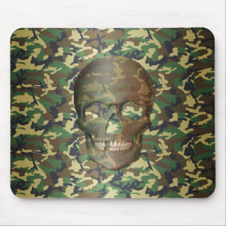 3D Woodland Camo Skull Mouse Pad