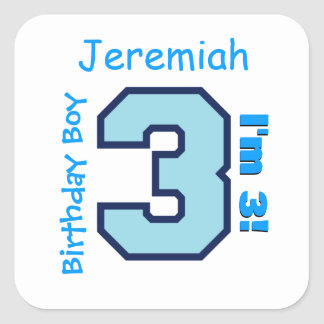 3rd Birthday Boy Blue Three Year Old Custom B3AZ Square Sticker