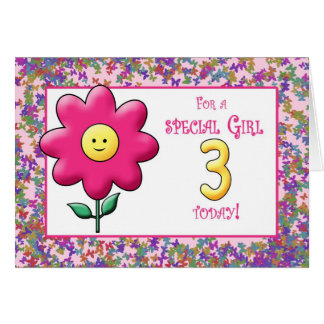 3rd Birthday Cute Pink Flower and Smiley Card