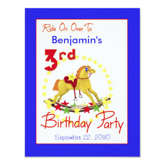 3rd Birthday Party Rocking Horse Card