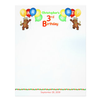 3rd Birthday Party Royal Bear Scrapbook  Paper 2 21.5 Cm X 28 Cm Flyer