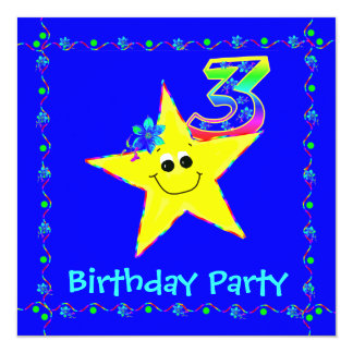 3rd Birthday Party Smiley Stars Invitations