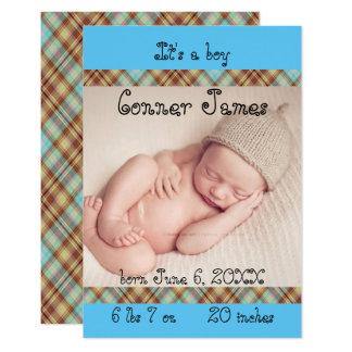 3x5 Blue Newborn Baby Boy Plaid Birth Announcement
