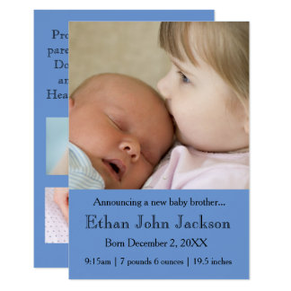 3x5 Sister Announcing Brother's Birth Blue 9 Cm X 13 Cm Invitation Card
