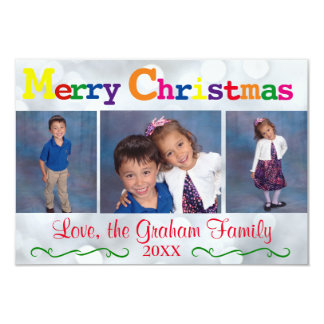 3x5Colorful Merry Christmas Silver Lights 3 Photos Card