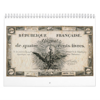 400 Livres French Revolution Assignat Bank Note Wall Calendars