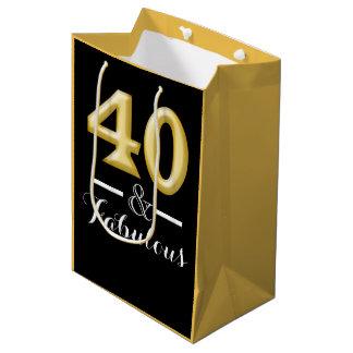 40 and fabulous black gold birthday medium gift bag
