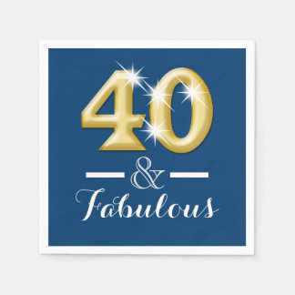 40 and fabulous blue gold birthday paper napkin