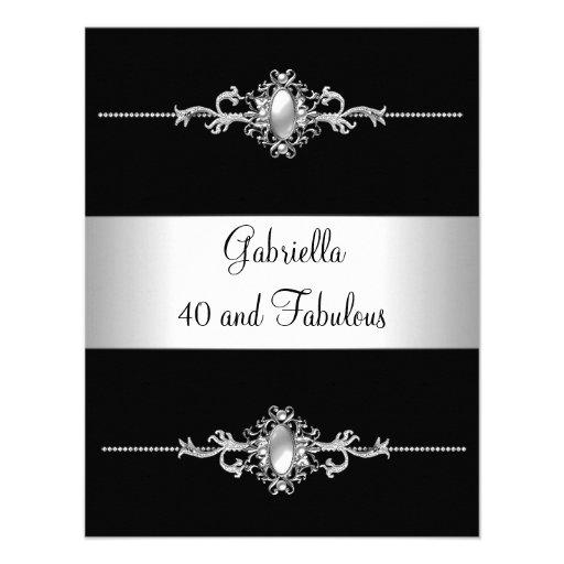 40 & Fabulous Black Silver Trim Birthday Party Invitations