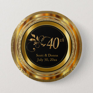 40th Anniversary in Gold 7.5 Cm Round Badge