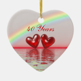 40th Anniversary Ruby Hearts Christmas Ornament