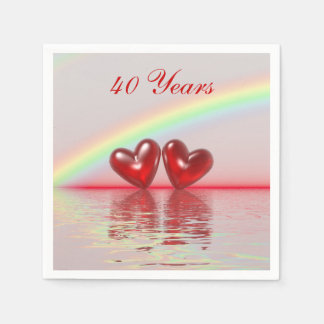 40th Anniversary Ruby Hearts Paper Serviettes