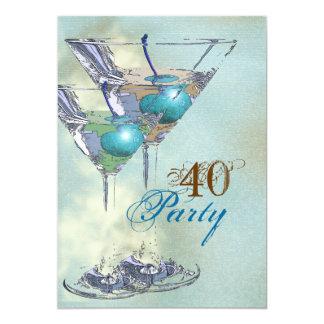 40th birthday elegant blue brown card