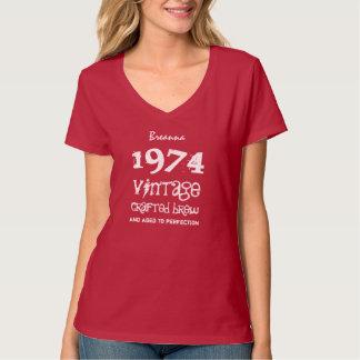 40th Birthday Gift 1974 Vintage Brew Red V03C T-Shirt
