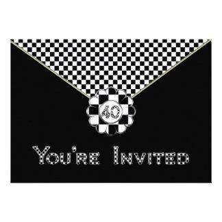 40th BIRTHDAY PARTY INVITATION - BLK WHT ENVELOPE
