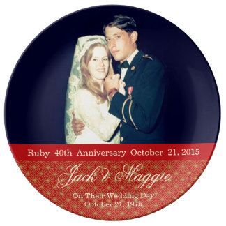 40th Ruby Anniversary | Commemorative Plate Porcelain Plate