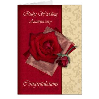 40th Ruby Wedding Anniversary congratulations Card