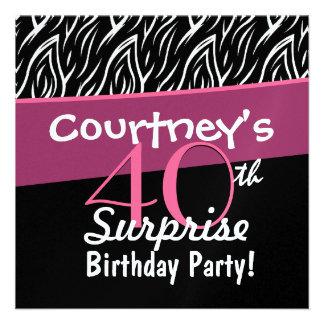 40th Surprise Birthday Black White Zebra Flames Personalized Announcements