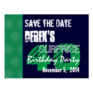 40th Surprise Birthday Save the Date Blue Green 1 Postcards