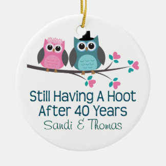 40th Wedding Anniversary Personalized Gift Round Ceramic Decoration