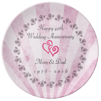 40th wedding anniversary Pink Sunrays Porcelain Plate