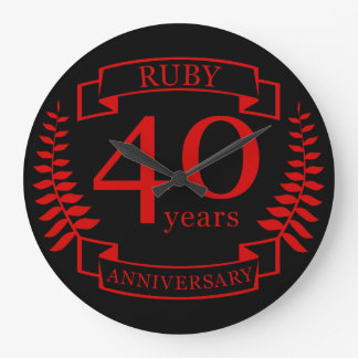 40th Wedding ANNIVERSARY RUBY Large Clock