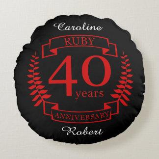 40th Wedding ANNIVERSARY RUBY Round Cushion