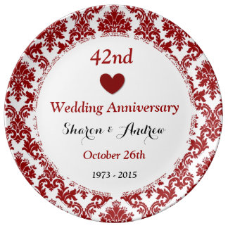 Wedding Anniversary Gift Baskets Nz : 42nd Wedding Anniversary Ruby Red Damask A42A Porcelain Plates