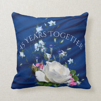 45 Years Together White Roses Anniversary Throw Pillow
