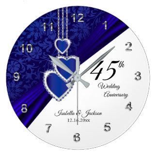 45th / 65th Sapphire Wedding Anniversary Keepsake Large Clock