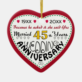 45th Anniversary gift heart shaped Christmas Christmas Ornament