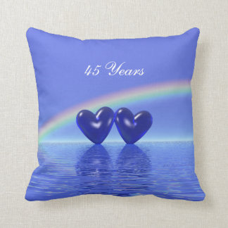 45th Anniversary Sapphire Hearts Throw Pillow