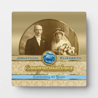 45th Sapphire Wedding Anniversary Gem Damask Photo Plaque