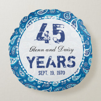 45th Sapphire Wedding Anniversary Paisley Pattern Round Cushion