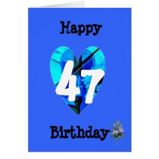 47th Birthday Blue Heart Violin Age Birthday Card