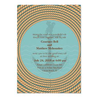 "4.5x6.25"" Nautical Retro Themed Wedding Invitation"