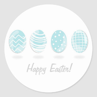 4 blue patterned Easter eggs Round Sticker