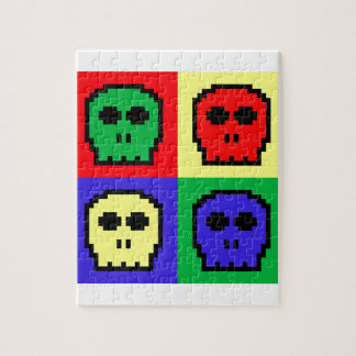 4 Color Retro 8-bit Skulls Jigsaw Puzzle