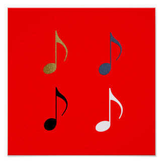 4 music notes decor poster