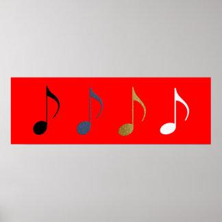 4 musical notes decor poster