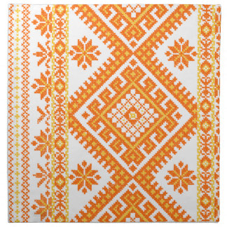 4 Pack Napkin Cotton Ukrainian Orange Print