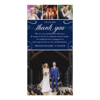 4 Photo Custom Color Wedding Thank You Photocards Personalized Photo Card
