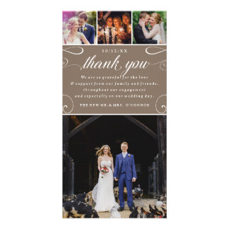 4 Photo Custom Color Wedding Thank You Photocards Picture Card