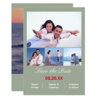 4 Photos Collage Vertical - 3x5 Gray Save the Date Card