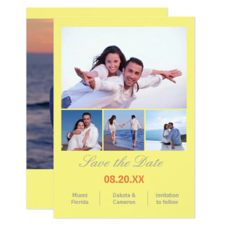 4 Photos Collage Vertical -3x5Yellow Save the Date Card