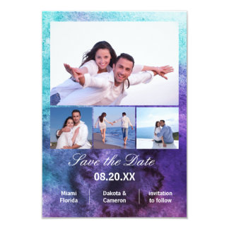 4 Photos Vertical - 3x5 Painting Save the Date Card